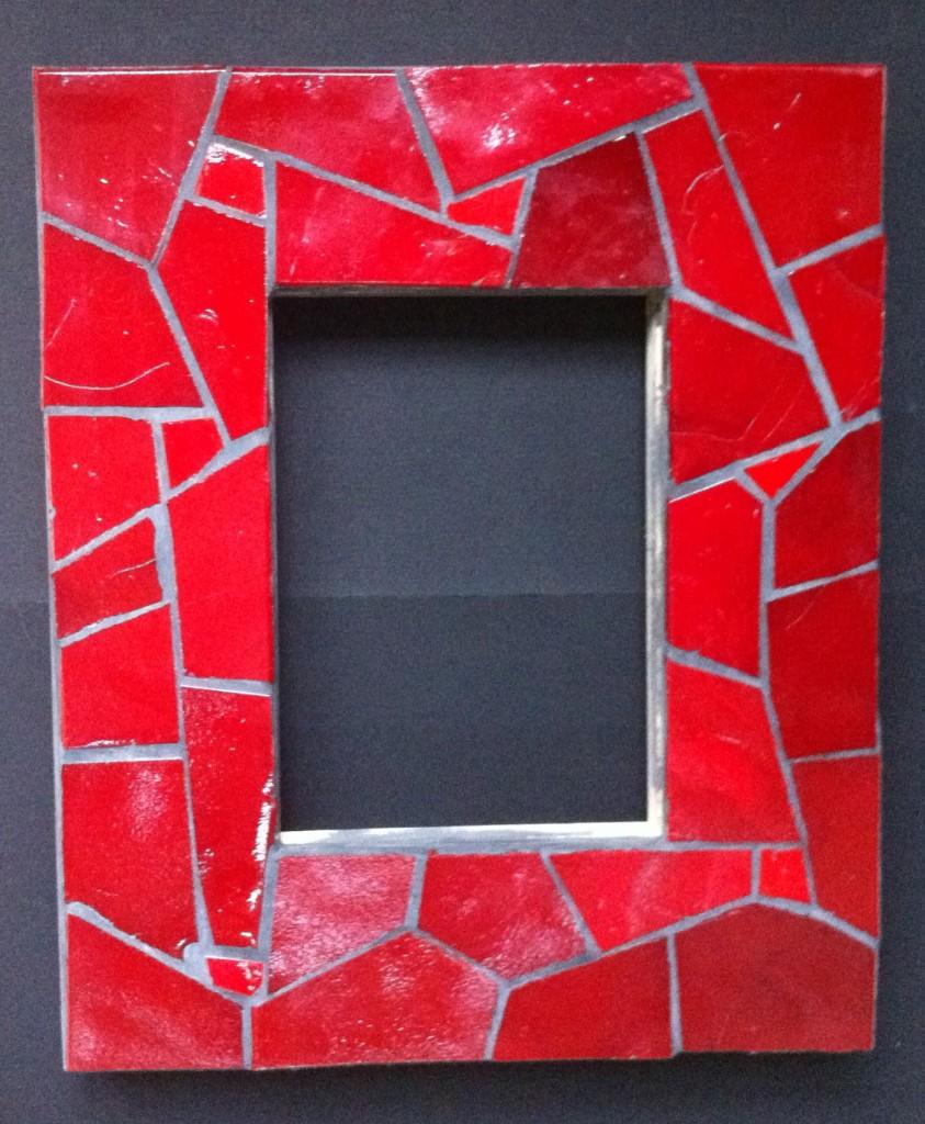 cadre réalisé en mosaique avec des carreaux de verre Abertini - joint gris