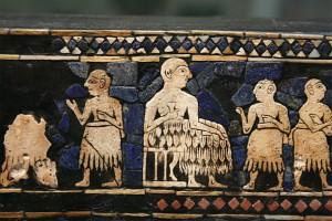 mosaique panneau ur mesopotamie