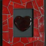 cadre réalisé en mosaïque avec des carreaux de verre Abertini rouge