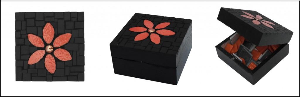 boite mosaique fleur en emaux de briare et gres cerame