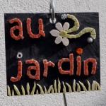mosaique ardoise au jardin