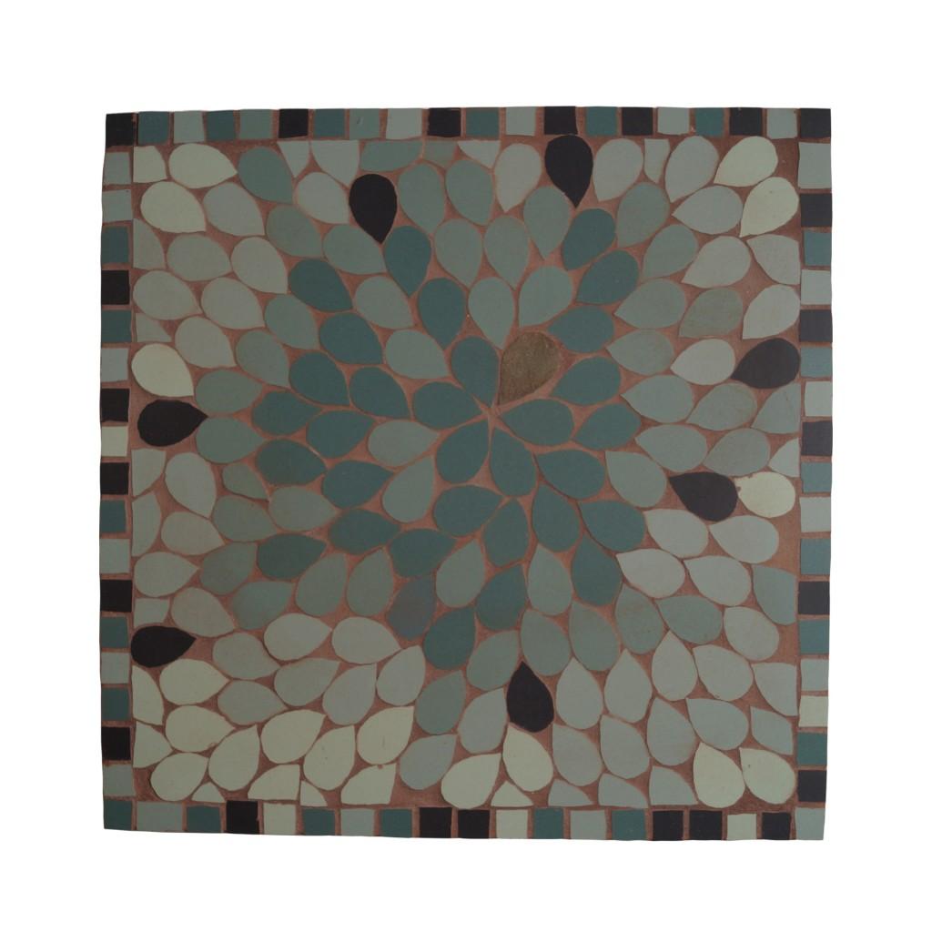cadre mosaique carré pétales verte gres cerame