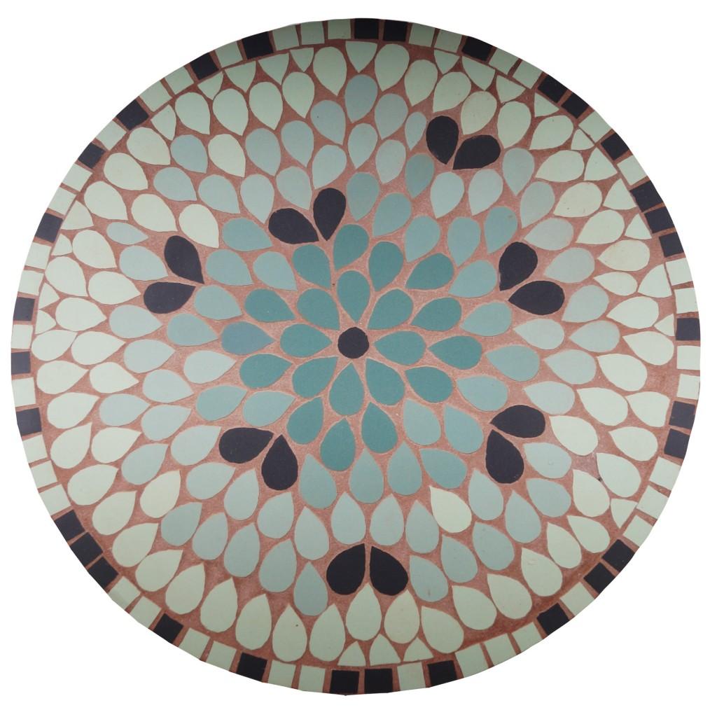 Cadre mosaique gres cerame petales vertes